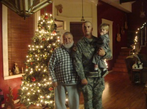 Christmas 2012 in Davis, OK with my daddy & mama Nik! Before going to AIT at Ft Sill, we stopped for some cheer at my daddy's home in Davis.  This is a photo of 3 generations of Rogers men. My daddy, Roy, my son, Steven & my grandson, Ryan